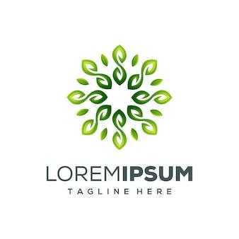 Illustration vectorielle de cercle feuille logo design