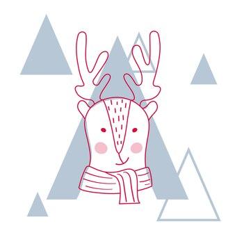Illustration vectorielle d'un cerf mignon en écharpe.