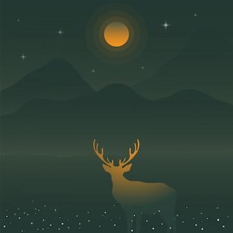 Illustration vectorielle de cerfs et de montagnes verdoyantes sous la pleine lune jaune, silhouette de cerf