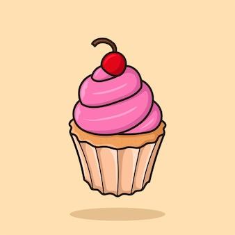 Illustration vectorielle de cerise cupcake cartoon