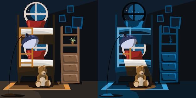 Illustration vectorielle de chambre à coucher intérieur