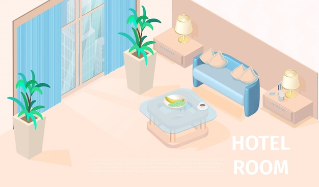 Illustration vectorielle chambre d'hôtel moderne isométrique