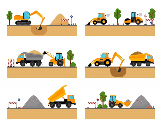 Illustration vectorielle de chantier de construction de machines