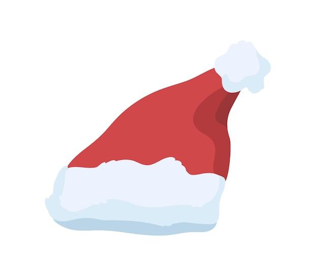 Illustration vectorielle de chapeau de père noël. élément de costume de fête de noël. bonnet en peluche rouge avec pompon sur le dessus isolé sur fond blanc. bonnet de vacances chaud pour la saison d'hiver avec fourrure duveteuse.