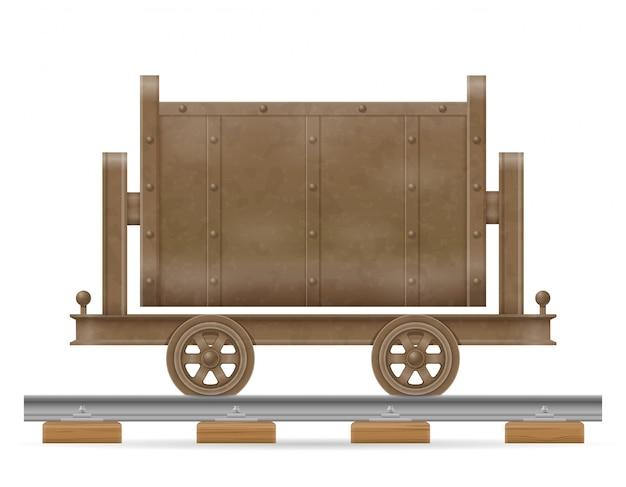 Illustration vectorielle de chariot chariot minier