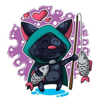 Illustration vectorielle sur chat amoureux