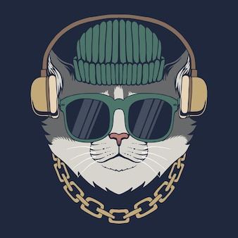 Illustration vectorielle de chat casque