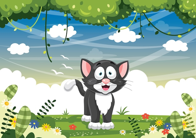 Illustration vectorielle de chat de dessin animé