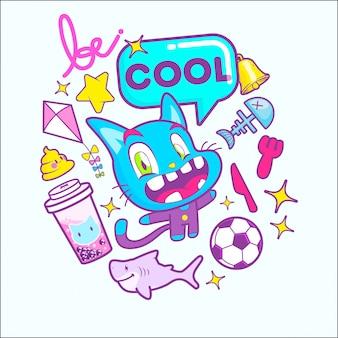 Illustration vectorielle de chat mignon dessin animé autocollant