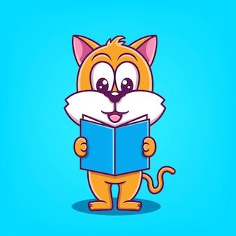 Illustration vectorielle de chat mignon dessin animé lecture livre