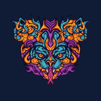 Illustration vectorielle de chat prédateur redoutable