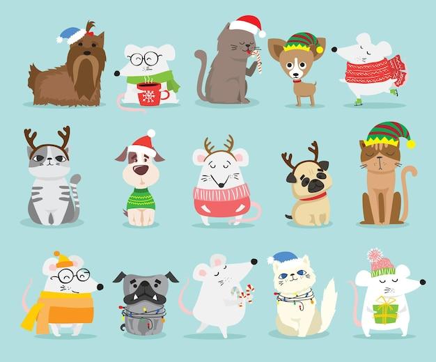 Illustration vectorielle de chats de noël, de rats, de cochons et de chiens avec les salutations de noël et du nouvel an. animaux mignons avec des chapeaux de vacances