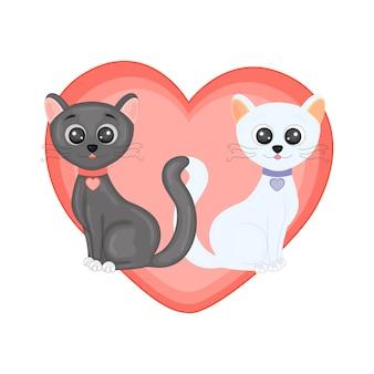 Illustration vectorielle avec des chats pour la saint-valentin.