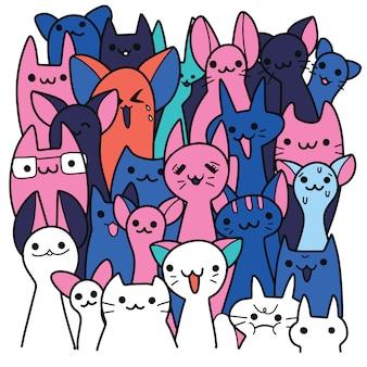 Illustration vectorielle avec des chats