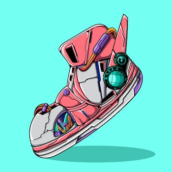 Illustration vectorielle de chaussures cyberpunk