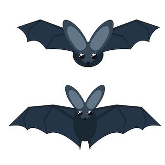 Illustration vectorielle de chauves-souris grises avec de grandes ailes. isolé