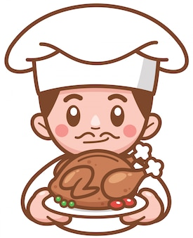Illustration vectorielle de chef de bande dessinée présentant des aliments
