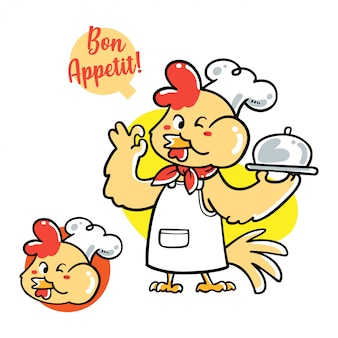 Illustration vectorielle de chef de poulet dessiné main mignon