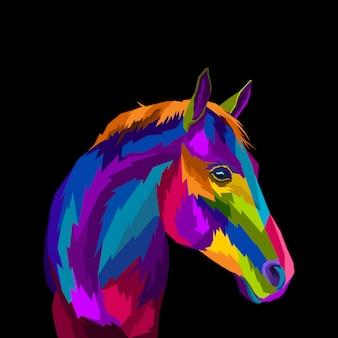 Illustration vectorielle de cheval coloré pop art portrait