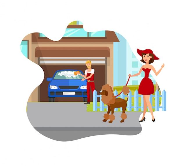 Illustration vectorielle de chien amoureux rencontre voisin