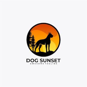 Illustration vectorielle de chien coucher de soleil logo design