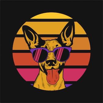 Illustration vectorielle de chien coucher de soleil rétro