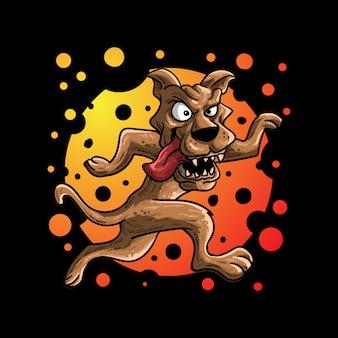 Illustration vectorielle de chien fou