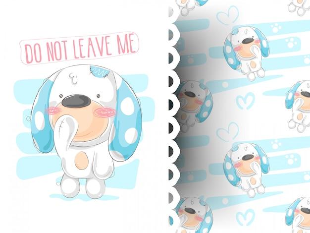 Illustration vectorielle de chien mignon dessin animé dessiné à la main