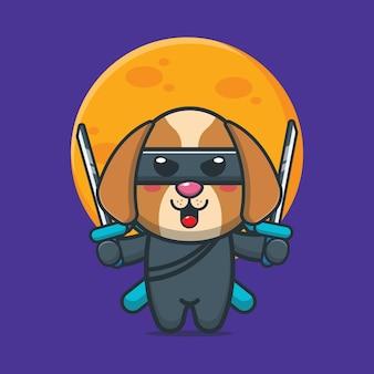 Illustration vectorielle de chien mignon ninja dessin animé