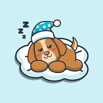 Illustration vectorielle de chien mignon sommeil dessin animé