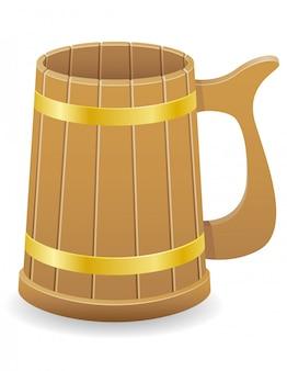 Illustration vectorielle de chope de bière en bois