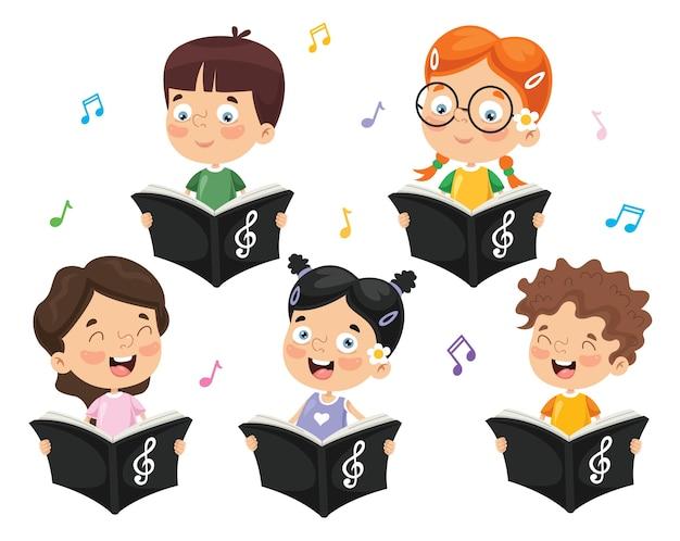 Illustration vectorielle de la chorale des enfants