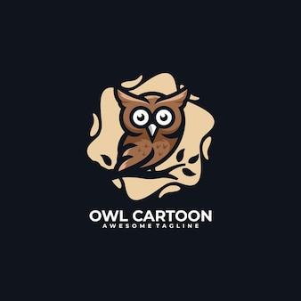 Illustration vectorielle de chouette dessin animé logo design
