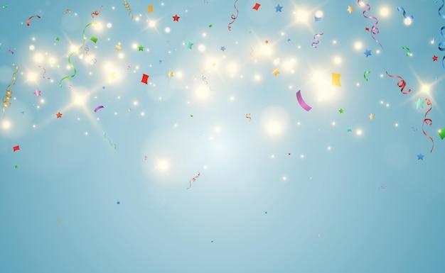 Illustration vectorielle de chute de confettis sur fond transparent