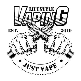 Illustration vectorielle de cigarettes électroniques. mains humaines mâles tenant des cigarettes électroniques croisées, texte de mode de vie