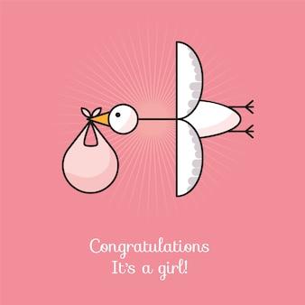 Illustration vectorielle de cigogne avec bébé. c'est une fille!