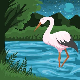 Illustration vectorielle cigogne et rivière