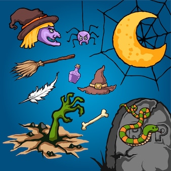 Illustration vectorielle de cimetière halloween cartoon