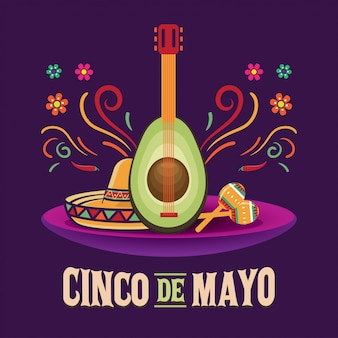 Illustration vectorielle de cinco de mayo, 5 mai