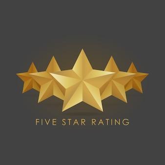 Illustration vectorielle de cinq étoiles d'or sur fond noir gris