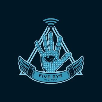 Illustration vectorielle de cinq yeux alliance espion