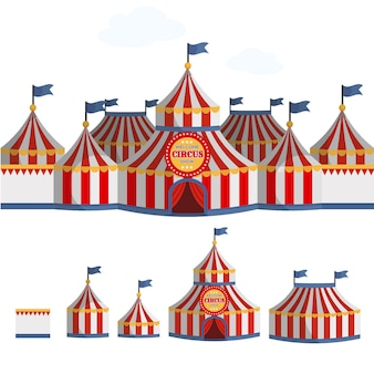 Illustration vectorielle de cirque tente dessin animé.