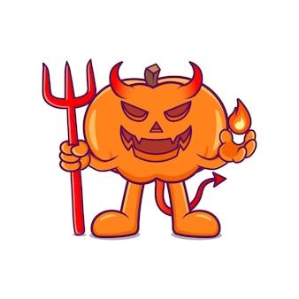Illustration vectorielle de citrouille diable effrayant vecteur premium