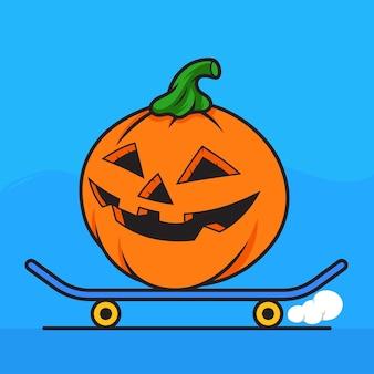 Illustration vectorielle de citrouille équitation skateboard