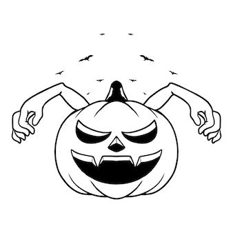 Illustration vectorielle de citrouille monstre personnage halloween