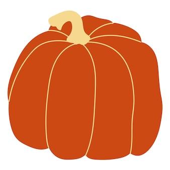 Illustration vectorielle de citrouille orange. citrouille d'halloween d'automne, icône graphique végétale ou impression, isolée sur fond blanc.