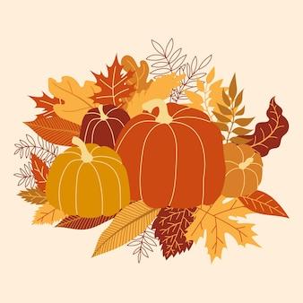 Illustration vectorielle de citrouille orange. citrouille d'halloween d'automne, icône graphique végétale ou timbre. cadre coloré avec des citrouilles et des feuilles