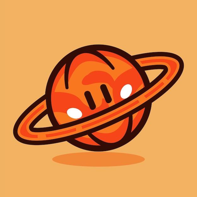 Illustration vectorielle de citrouille planète dessin animé