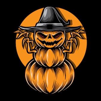Illustration vectorielle de citrouilles effrayant monstre