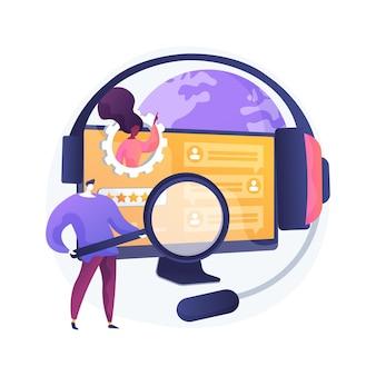Illustration vectorielle de client libre-service concept abstrait. système de support électronique, client proactif électronique, assistance en ligne, base de connaissances faq, métaphore abstraite représentant une boutique gratuite.